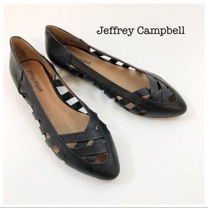 Jeffrey Campbell Black Woven Leather New Flats 8.5